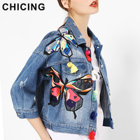 CHICING Denim Jackets Women Embroidery Butterfly Floral Applique Patch Long Sleeves Fall Winter Crop Basic Coats Femmes B1609017