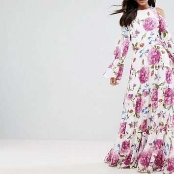 Y.A.S Studio Tall Cold Shoulder Flower Printed Maxi Dress at asos.com