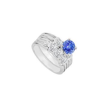 14K White Gold : Tanzanite and Diamond Engagement Ring with Wedding Band Set 1.10 CT TGW