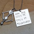 Hunger Games inspired hand stamped, charm necklace. MAY THE ODDS Be Ever In Your Favor