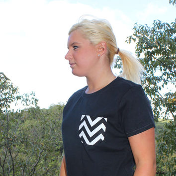 Chevron Black and White Patterned Pocket Tee