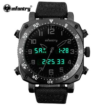 INFANTRY Men Watches Fashion New Luxury Brand Durable Nylon Clock Male Casual Sport Watch Men LED Display Wrist Quartz Watch