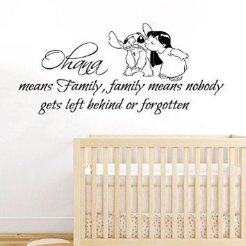 Wall Decals Vinyl Decal Sticker Children Boy Girl Kids Nursery Baby Room Bedding Interior Design Home Decor Lilo Stitch Quote Ohana Family Means Nobody Gets Left Behind or Forgotten Kg866