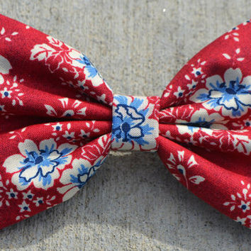 Red, White and Blue Floral Hair Bow