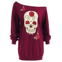 Fashion Skull Print T-Shirt Women Tops Long Sleeve Off Shoulder Loose T Shirt Plus Size Woman Clothing