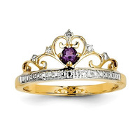 14k Yellow Gold Diamond And Amethyst Crown Princess Ring