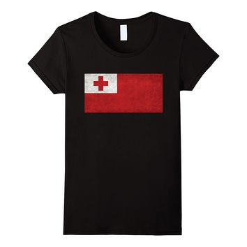 Tongan Flag T-Shirt in Vintage Retro Style