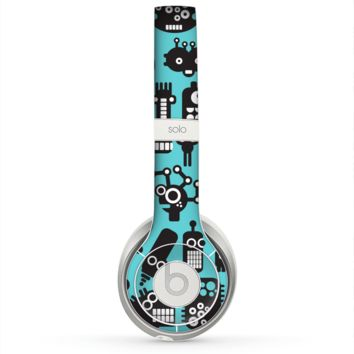 The Teal & Black Toon Robots Skin for the Beats by Dre Solo 2 Headphones