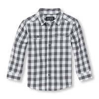 Toddler Boys Long Sleeve Checked Twill Button-Down Shirt | The Children's Place