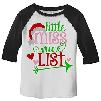 Shirts By Sarah Girl's Little Miss Nice List Funny Christmas 3/4 Sleeve Baseball Raglan Shirt