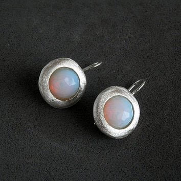 Opalite earrings , silver earrings , sparkle  earrings , Round opalite earrings , wedding earrings , opalite jewelry , dangle earrings