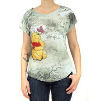 Disney Disney Womens Winnie the Pooh Green Sublimated Graphic Print Casual T-Shirt Top