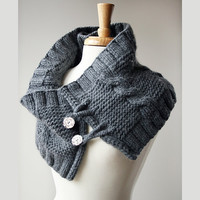 Organic Merino Wool Knit Wrap - Original Design by Elena Rosenberg - Fall Winter Fashion