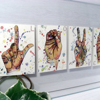 LOVE - Set of Four ACEO Prints - colorful watercolor painting - Illustration