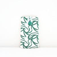 Fabric Iphone 6 case , Hand printed green abstract print fabric , cell phone cover sleeve for Samsung Galaxy s4 s5 IPhone 6 HTC m8 Uk seller