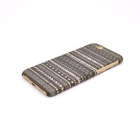 Iphone 6/6s Case, Black Aztec Geometric on Wood Pattern 3d-sublimated, Mobile Accessories.