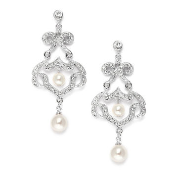 Bridal CZ Chandelier Earrings with Ivory Pearls $40