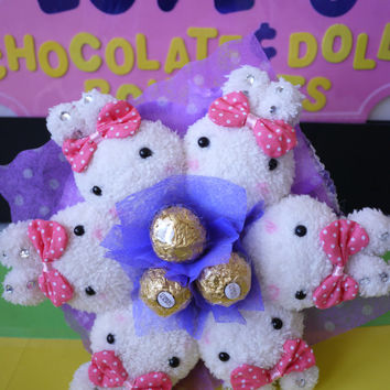 Bow Rabbit Plush doll with Ferrero Rocher Chocolate Flower Bouquet. Birthday gift for her!