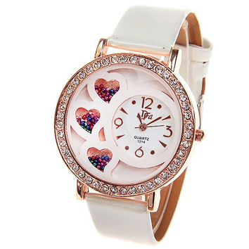 Women's Watch with Rhinestone Decoration Quartz Analog Dial Leather Watchband (White)