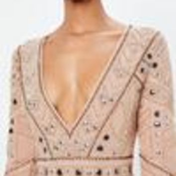 Missguided - Peace + Love Nude Geo Embellished Plunge Mini Dress