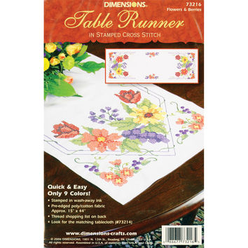 "Stamped Cross Stitch Table Runner 15""""X44""""-Flowers & Berries"