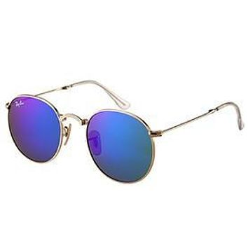 Ray Ban Round Gold Metal Frame Blue/Violet Mirrored Lenses Sunglasses 308157