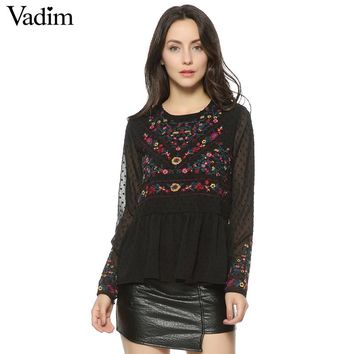 Women vintage floral embroidery pleated chiffon shirts transparent sexy dots long sleeve
