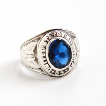 Vintage Sterling Silver United States Air Force Ring - 1950s Military Size 7 3/4 Blue Created Spinel Jewelry Dated 1955