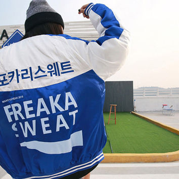 Blue Freak a Sweat Bomber Jacket