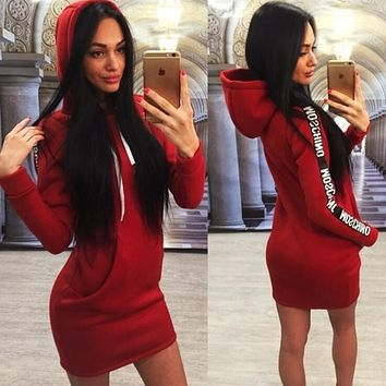"""""""MOSCHINO"""" Trending Women Sexy Stylish Letter Print Long Sleeve Hoodie Dress Red"""