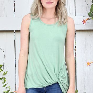 Twisted Up Basic Tank Top {Sage}