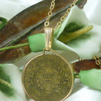 Tunisian 1 Franc Coin Pendant 1926 Vintage 14kt Gold Filled Necklace