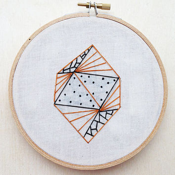Geometric Diamond Line Dot Hand Embroidery Hoop Art Hoop Home Decor Geometric Wall Art Geometric Embroidery Shape Embroidery Line Embroidery