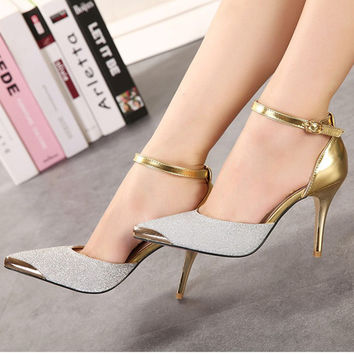 Red bottom High Heels Women Pumps Glitter High Heel Shoes Woman Sexy Wedding Party Shoes Gold Silver Blue#WYL110