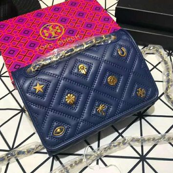 Tory Burch 2018 new badge embroidered rhombic chain bag shoulder slung small square bag Blue