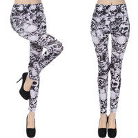 Black And White Skull Goth Leggings