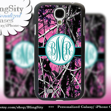 Camo Turquoise Monogram Galaxy S4 case S5 RealTree Muddy Camo Personalized Samsung Galaxy S3 Case Note 2 3 Cover Country Girl