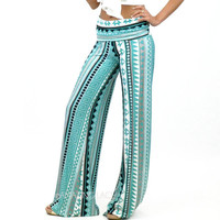 Crystal Cove Aqua Tribal Palazzo Pants