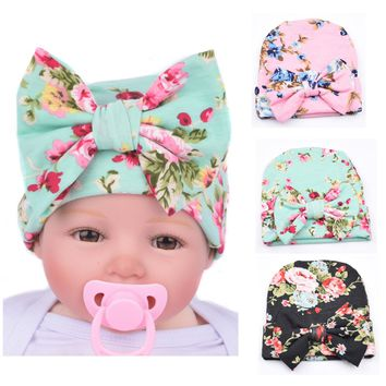 3 PCS/Lot Flower Bonnet Hat Cap with Big Bow For Baby Girl Infant Newborn Hair Accessories
