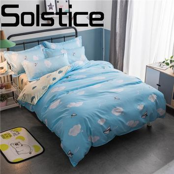Solstice Home Textile 2018 Fashion Print Skin Friendly Breathable Reactive Bedding Sheet Bedding Pillow Case Quilt Cover 3/4pcs