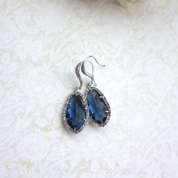 Rhodium Plated Montana Blue, Sapphire Blue Glass Teardrop Dangle Earrings.  Bridal Jewelry. Wedding Earrings. Bride. Bridesmaids Gifts.