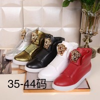 Versace Womens Fashion Tribute Ankle Boots Leather Zipper Ankle Short Boots Flats High Heels sneaker high top Shoes black red gold