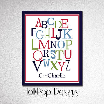 Nursery Wall Decor Alphabet Typography Art Print Baby Boy Bedroom Decor Art Prints for Kids Baby Decor Poster Print Custom Colors