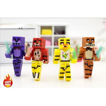 4pcs/set Minecraft Toys  At  4  Foxy Chica Bonnie Freddy Action Figures Gift Toys For Children #E