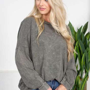 Mineral Washed Sweatshirt | Grey