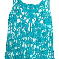 FULL TILT Crochet Fringe Womens Top