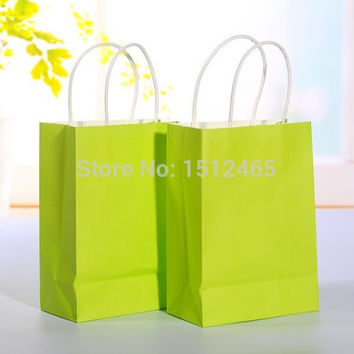 Free shipping,10pcs/lot Bright green kraft paper bag with handle Party Gift Paper Bags Wedding Favors 21*15*8cm  STD01-16