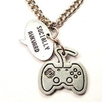 "Video Game Controller Charm with Expression Socially Awkward 18"" Fashion Necklace"