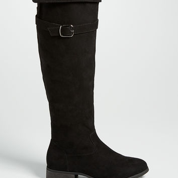 thora knee high faux suede boot in black