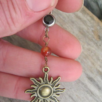 Carnelian Sun Belly Ring, BRONZE Belly Button Ring, Fiery Carnelian, Birthstone Navel Piercing, Nature Body Jewelry, Sunshine, Sunny